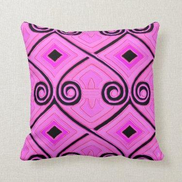 Art Deco Does Persia - Fuschia Pink + Black Pillow