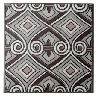 Art Deco Does Persia (Grays, Oxblood, Mauve) Large Square Tile