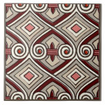 Art Deco Does Persia (Tan,Coral,Gray and Maroon) Ceramic Tiles
