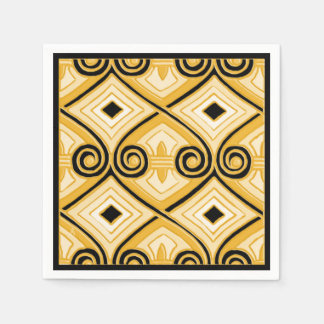 Art Deco Does Persia (Yellow and Black) Paper Napkin