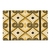 Art Deco Does Persia (Yellow+Black) Laminated Placemat