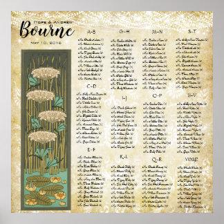 ART DECO Dragonfly Lilypad Wedding Seating Chart