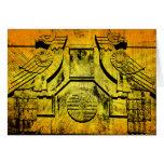 Art Deco Eagle Grunge Stone Sculpture Note Card