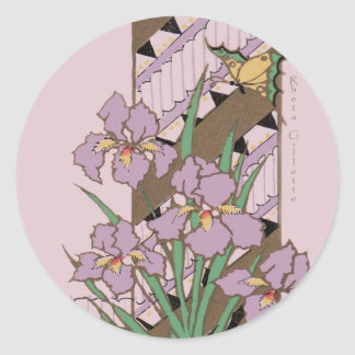 Art Deco Easter Purple Iris Butterfly Classic Round Sticker