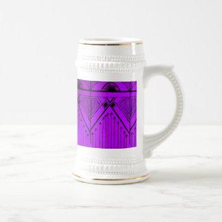 Art Deco Effect Design Lavender Purple Black Beer Stein