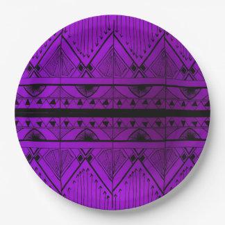 Art Deco Effect Design Lavender Purple Black Trim Paper Plate