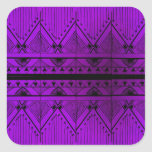Art Deco Effect Design Lavender Purple Black Trim Square Sticker