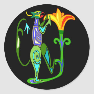 Art déco egipcio con un pegatina de la flor de