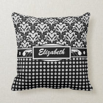 Art Deco Elegance Black and White Floral Damask Throw Pillow