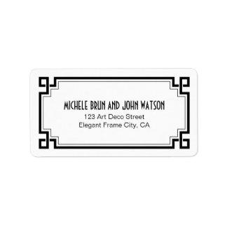 Art Deco Elegant Black Frame White Return Address Label