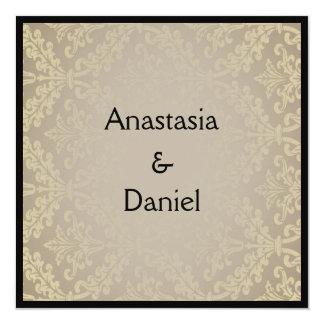 Art Deco elegant greish damask wedding invitation