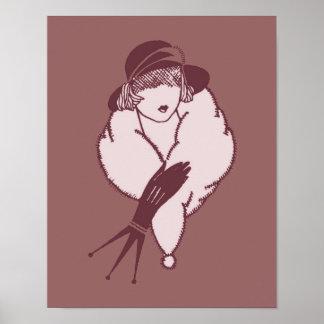 Art Deco Elegant Lady Poster