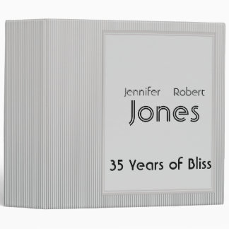 Art Deco Elegant Stripe Anniversary 3 Ring Binder