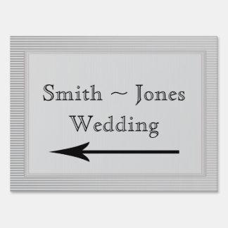 Art Deco Elegant Stripe Wedding Direction Sign