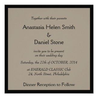 Art Deco elegant wedding invitation