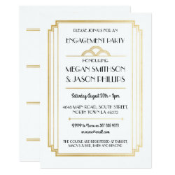 Art Deco Engagement Party Invitations Gold