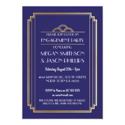 Art Deco Engagement Party Invite Navy Gold 1920's