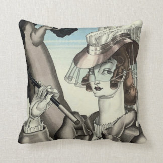 ART DECO EQUESTRIAN WITH CROP THROW PILLOW
