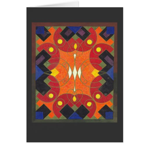 Art Deco Fabric Design - Rich Vibrant Colors Cards