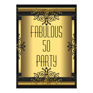 ART DECO Fabulous 50 50th Gatsby Birthday Party 4.5x6.25 Paper Invitation Card