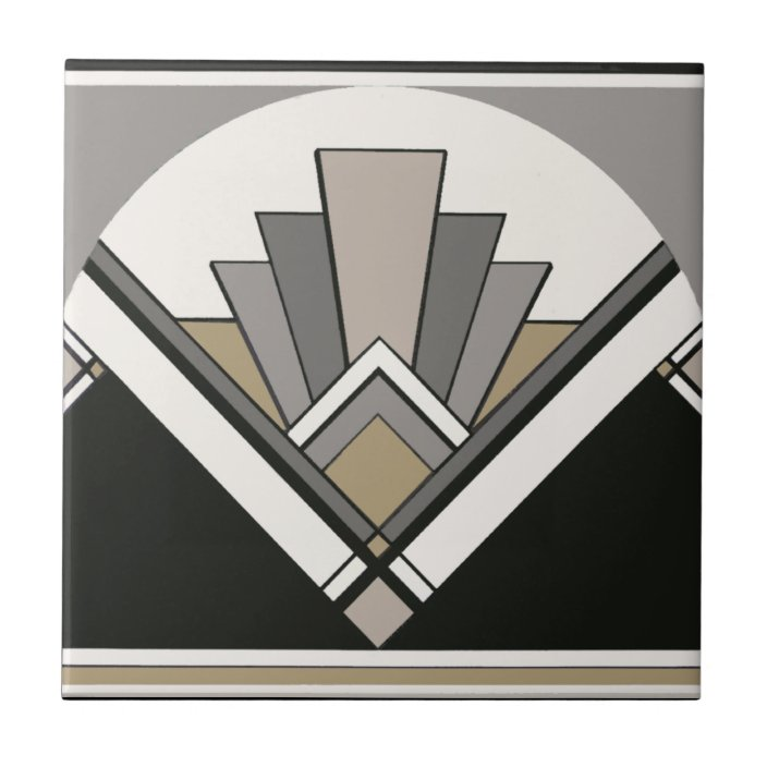 Art Deco Fan Bathroom Or Kitchen Tile Zazzle Com
