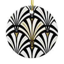 Art Deco fan pattern - black and white Ceramic Ornament