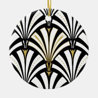 Art Deco fan pattern - black and white Ceramic Ornament