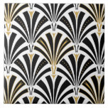 "Art Deco fan pattern - black and white Ceramic Tile<br><div class=""desc"">Digital reproduction of a classic,  Art Deco wallpaper,  fan pattern - black on white fabric,  embellished with gold</div>"