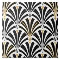 Art Deco fan pattern - black and white Ceramic Tile