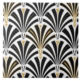 Art Deco fan pattern - black and white Ceramic Tile