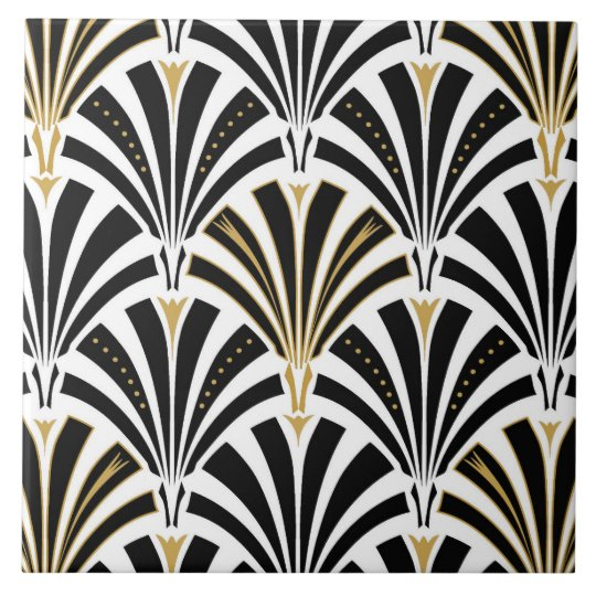 Art Deco Fan Pattern Black And White Ceramic Tile