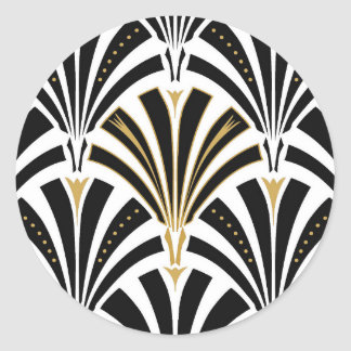 Art Deco fan pattern - black and white Classic Round Sticker
