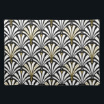 """Art Deco fan pattern - black and white Cloth Placemat<br><div class=""""desc"""">Digital reproduction of a classic,  Art Deco wallpaper,  fan pattern - white on black,  embellished with gold</div>"""