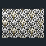 "Art Deco fan pattern - black and white Cloth Placemat<br><div class=""desc"">Digital reproduction of a classic,  Art Deco wallpaper,  fan pattern - white on black,  embellished with gold</div>"