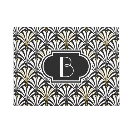 Art Deco Fan Pattern Black And White Doormat Zazzle Com
