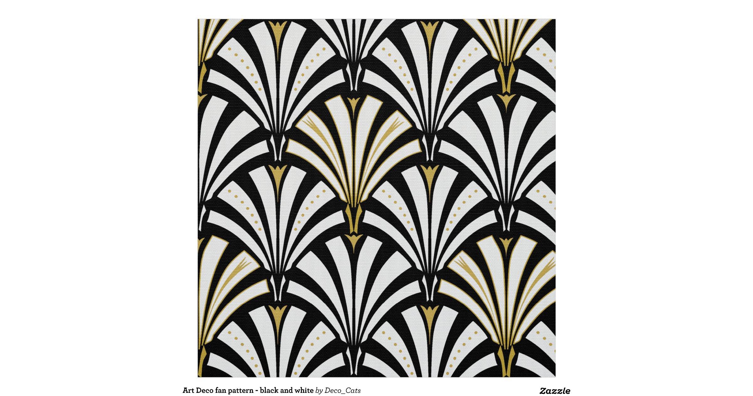 Artdecofanpatternblackandwhitefabric