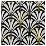 Art Deco fan pattern - black and white Fabric