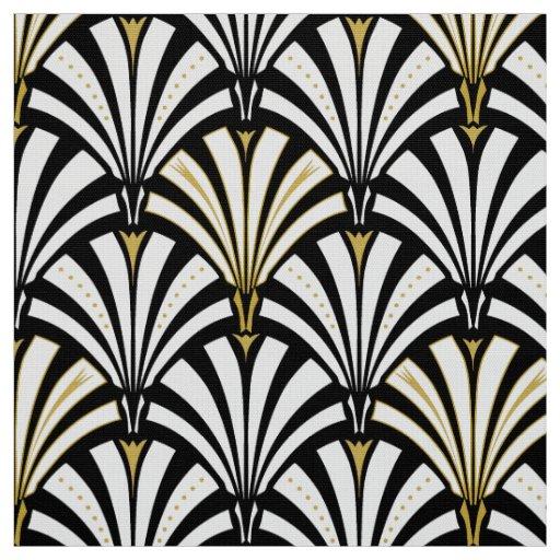 Art deco fan pattern black and white fabric zazzle for Art deco fabric