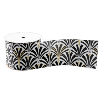 Art Deco fan pattern - black and white Grosgrain Ribbon