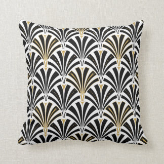 Art Deco fan pattern - black and white Pillow