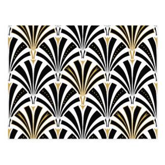 Art Deco fan pattern - black and white Postcard