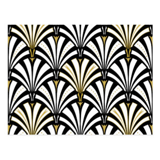 Art Deco fan pattern - black and white Postcard