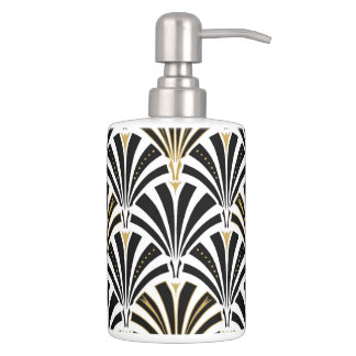 Art Deco fan pattern - black and white Soap Dispenser And Toothbrush Holder
