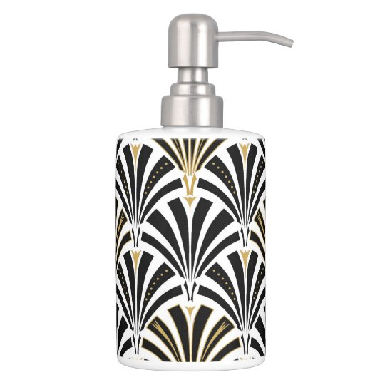 Art Deco Fan Pattern Black And White Soap Dispenser Toothbrush Holder