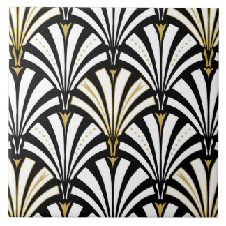Art Deco fan pattern - black and white Tile