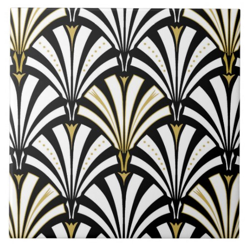 Art Deco fan pattern black and white Tile Zazzle