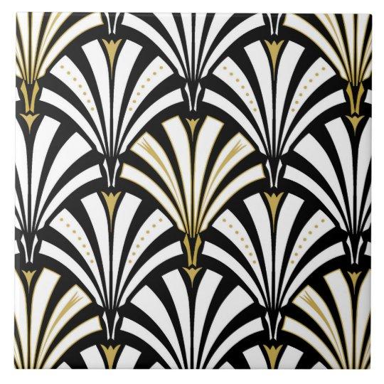 Art Deco Fan Pattern Black And White Tile