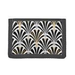 Art Deco fan pattern - black and white Tri-fold Wallet