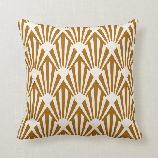 Art Deco Throw Pillows.Art Deco Fan Pattern Caramel And Cream Throw Pillow