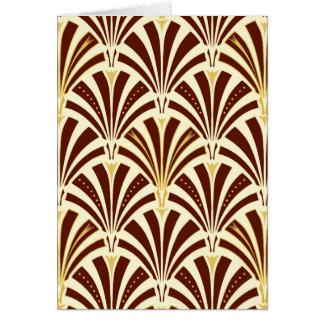 Art Deco fan pattern - chocolate on cream Card